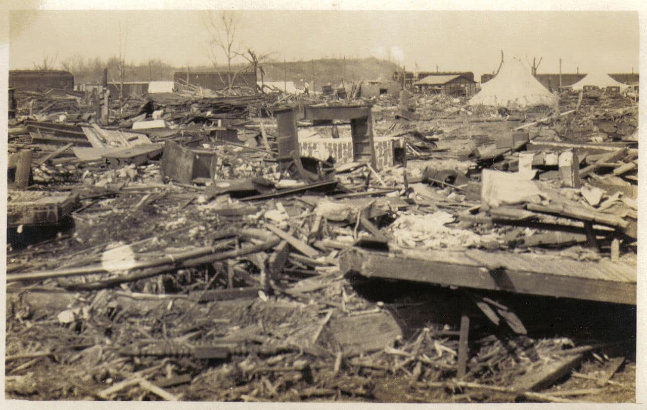 Ruins of the town of Griffin, Indiana, where 26 people were killed.
