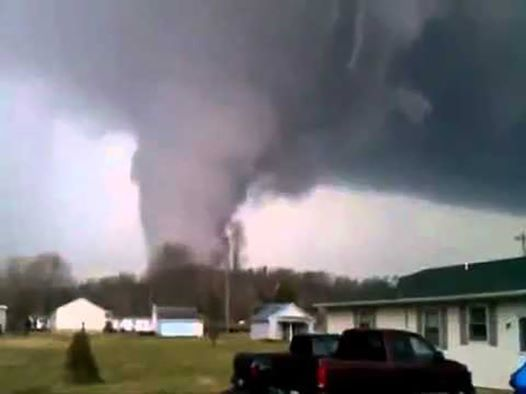 screen grab from video shot by a family in Borden IN as the tornado was churning towards Henryville.