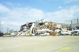 Tornado damage in Springfield, Illinois