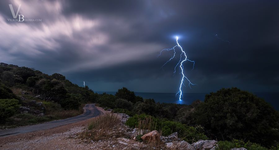 Clear CG lightning bolt with approaching bow echo... 29.07.2014 Croatia North Adriatic