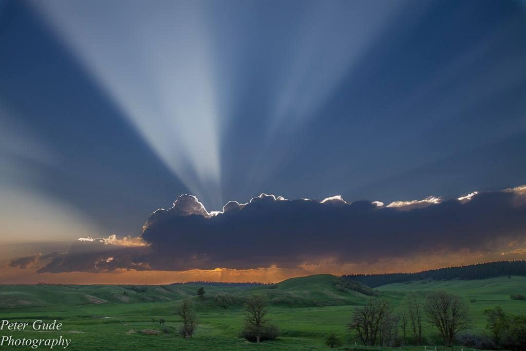 Nice crepuscular rays, in northern Wyoming