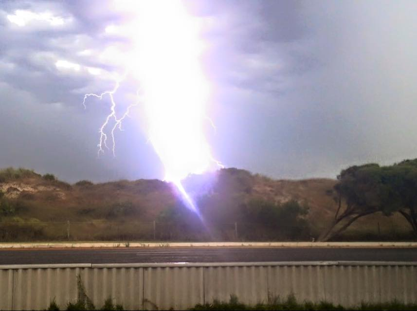 Gotta love getting woken up by a big boom then race outside and then this happened as I set my phone up man it was loud