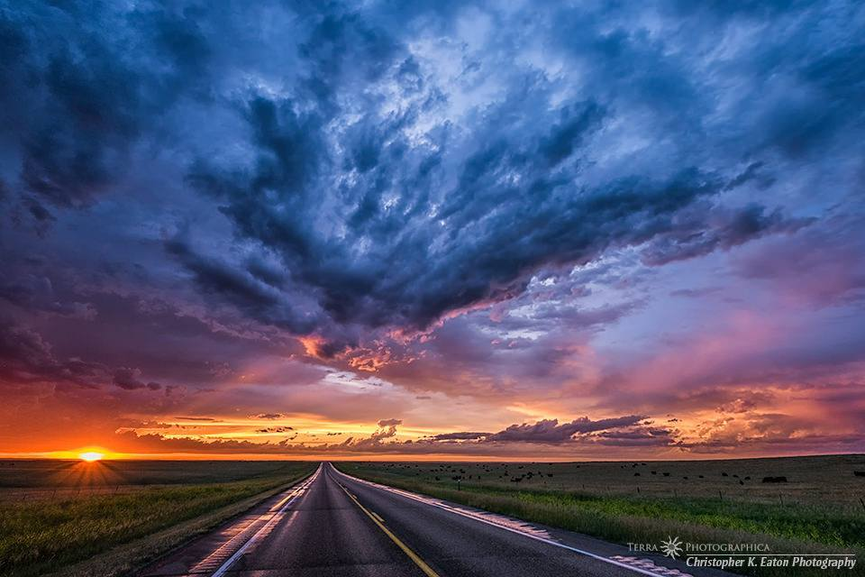 After a long day of chasing nothing special on the Summer Solstice, I was treated to a spectacular sunset along State Highway 34 on the Cheyenne River Indian Reservation. June 21, 2014.