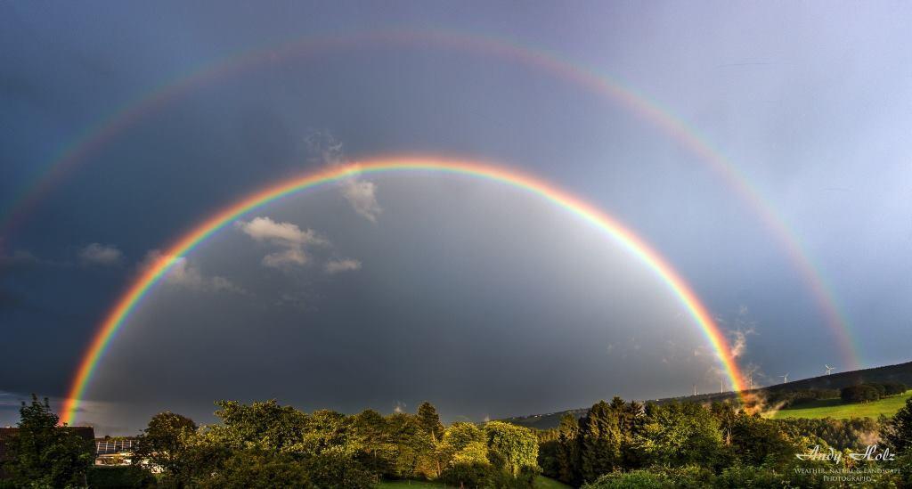 Wonderful double rainbow last summer at home (Huertgenwald/Germany), Aug. 3rd 2014