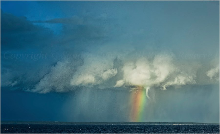 What more, shelf cloud, rainbow, hail and lowering waterspout...? 23.11.2013. M.Lošinj / Croatia