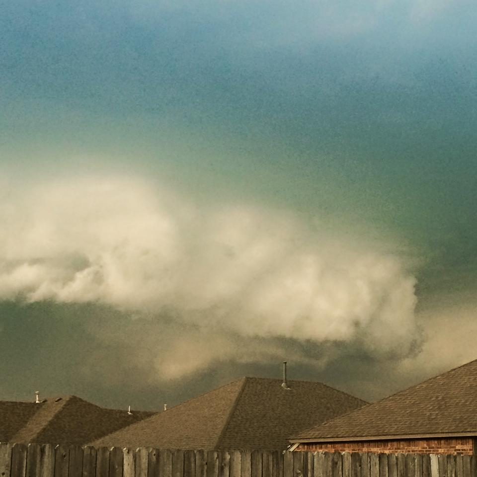 Taken in my backyard in Moore by my iphone. Mesocyclone.