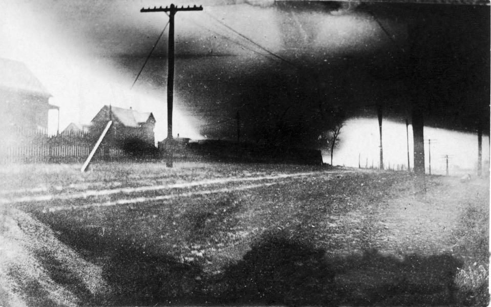 Actual photo of the 1913 Easter tornado in Omaha (courtesy: Douglas County Historical Society)