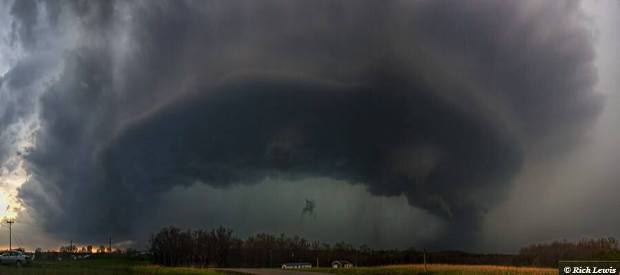 April 8th, 2015- Perryville Missouri. Tornado warned supercell with funnel cloud. While most chasers this day played the dryline out in Kansas, my chase partner Kevin and I chased the MO/IL warmfront which produced this amazing tornadic supercell.
