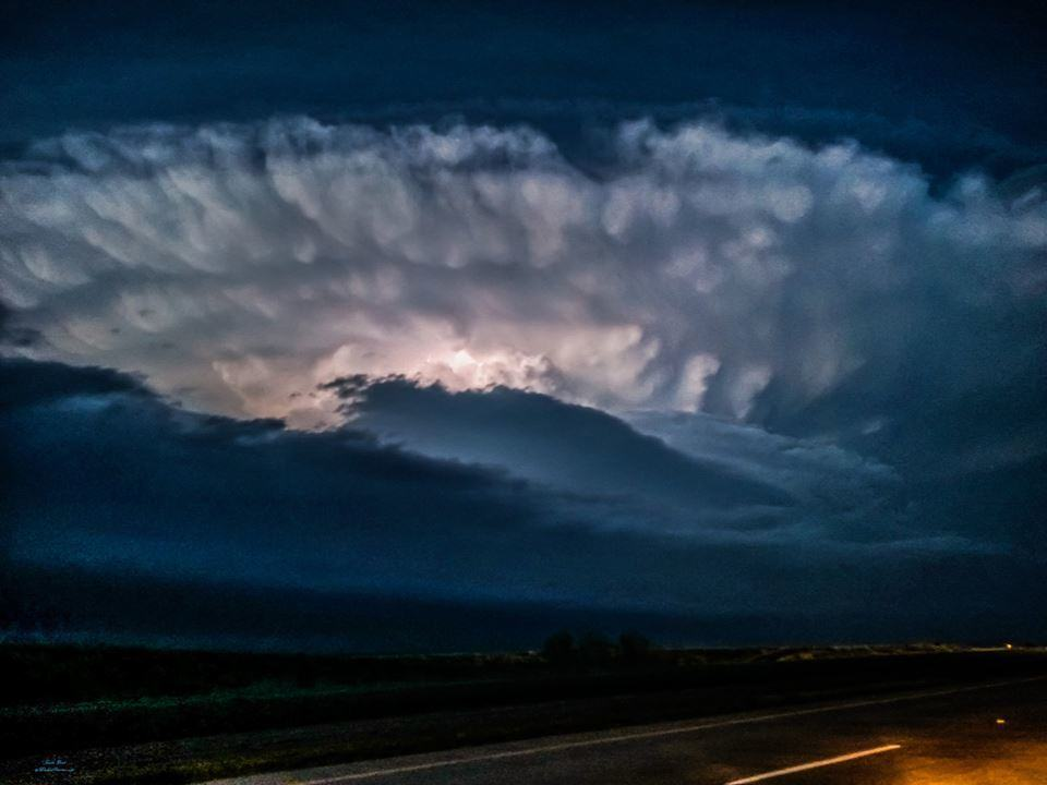 """THE CROWN"" Dark enough for headlights, yet my camera still pulled enough sunset light to capture the illuminated crown, for the last hoorahhh of the massive Amarillo, Texas region supercell of 4-11-15. After spending a couple hrs UNDER the core, I pulled outside of it to get a structure shot here"