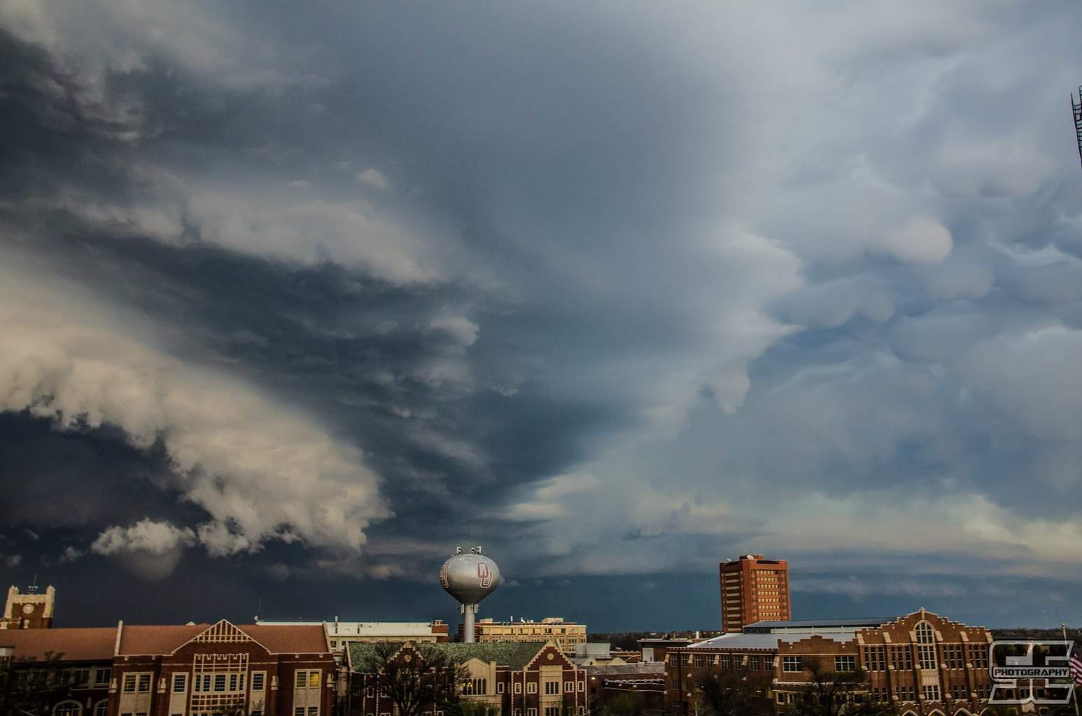 Perspective shot of the OKC/Moore supercell with an ongoing tornado back on March 25th.