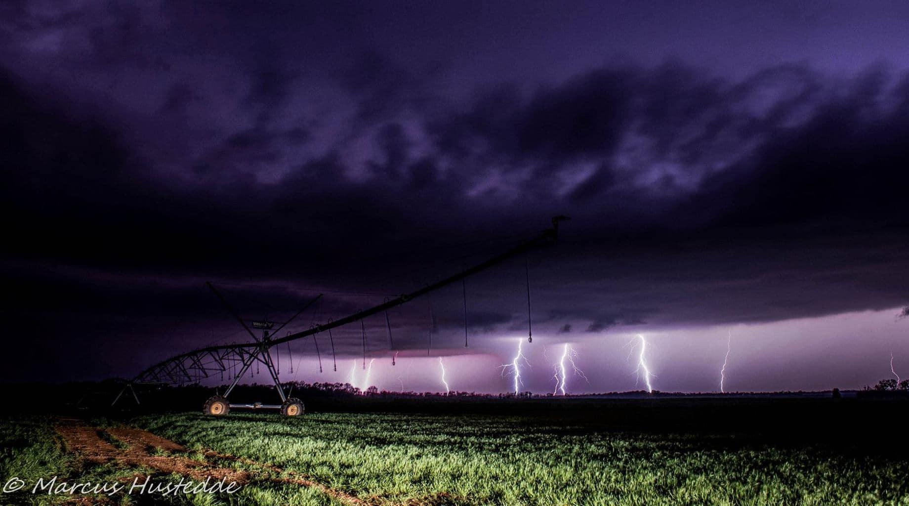 3 image lightning stack west of Huntsville, AL last week