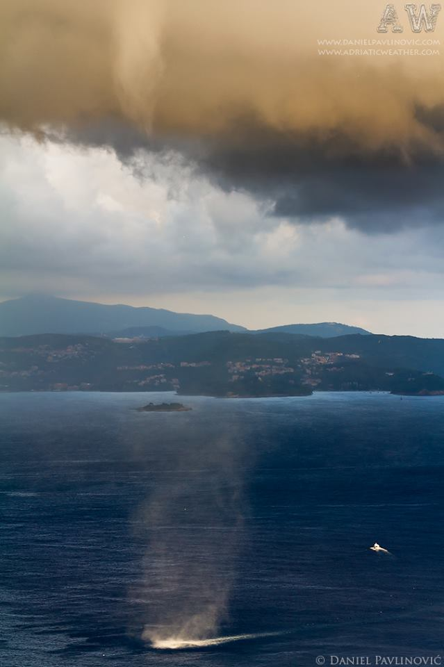 Waterspout near the coast bewteen Dubrovnik and Cavtat, Croatia, 13 Oct 2012.