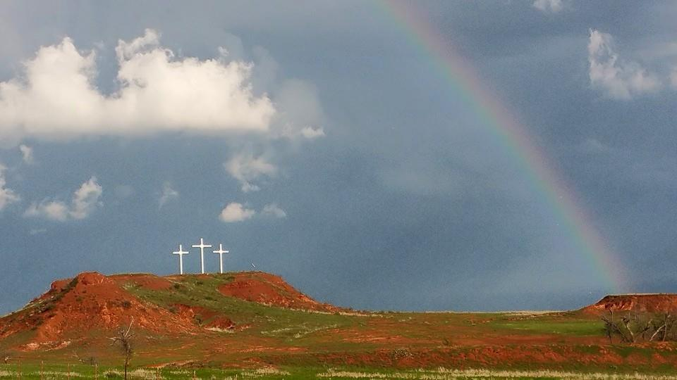Not fancy, but wanted to share this neat pic. This was 4-18-15 near Clinton, Ok, looking East toward the storm. Love the bonus of the rainbow with the crosses.