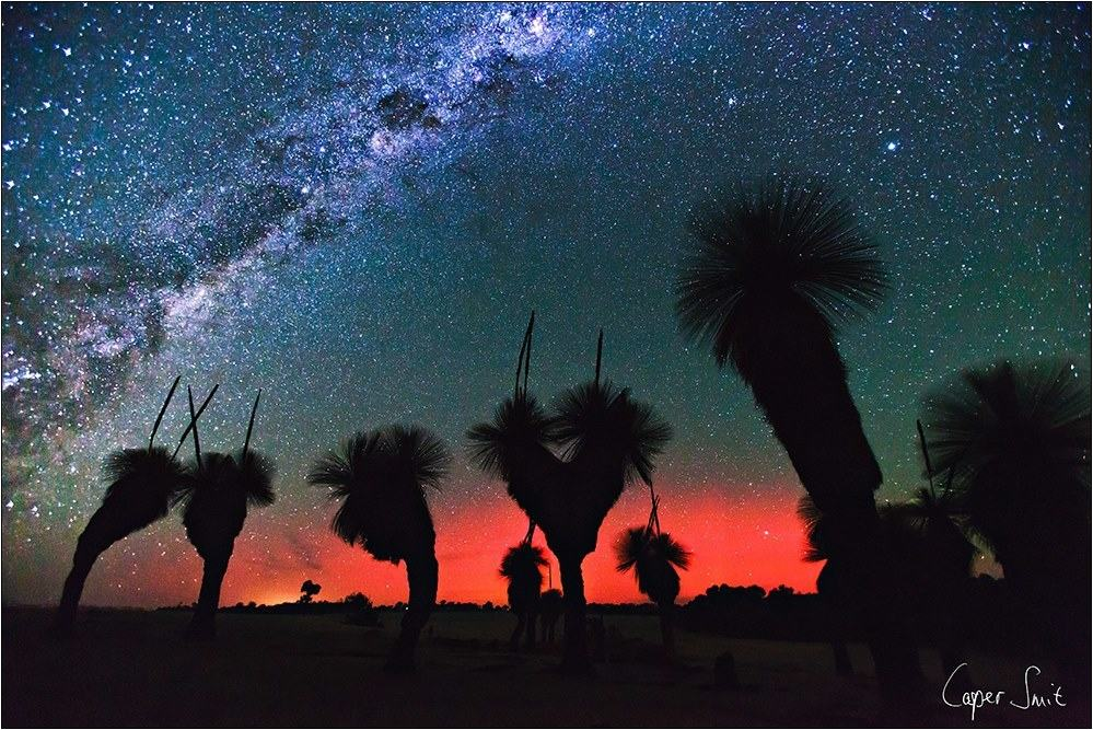 Was making the best of the clear night skies, Wednesday evening, in the West Australian wheat belt, photographing the milky way and some grass trees when I noticed an orange/red light showing up on my pics. I realised that it was the Aurora Australis, quickly adjusted the comp to include that, enjoy