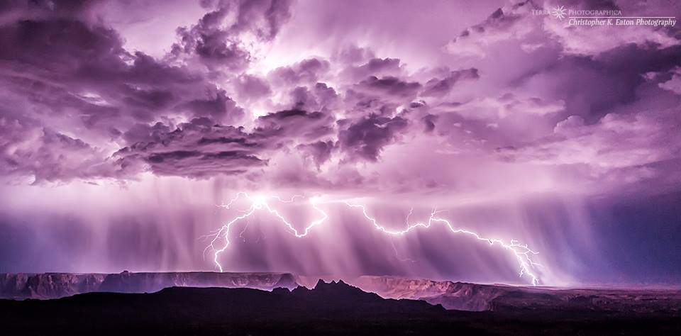 The Paria Canyon is bridge by lightning, August 27, 2011. ©2015 Christopher K. Eaton / Terra Photographica