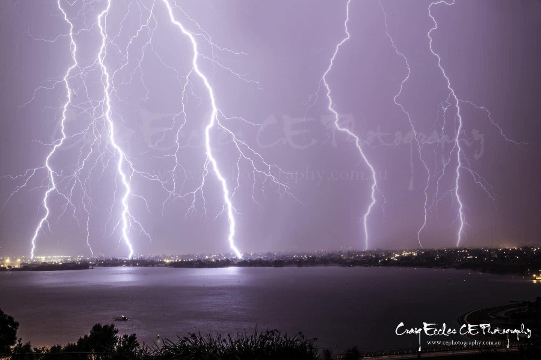 Perth Australia under severe lightning storm.