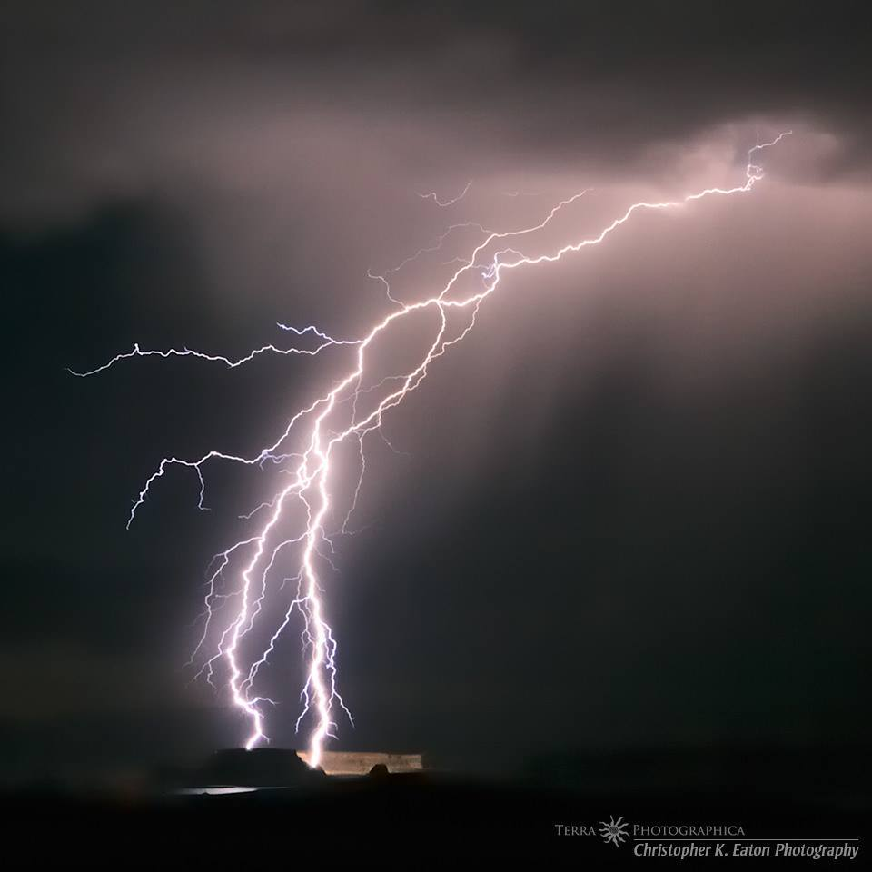 Lightning reaches for the cliffs over Lake Powell - August 4, 2011.