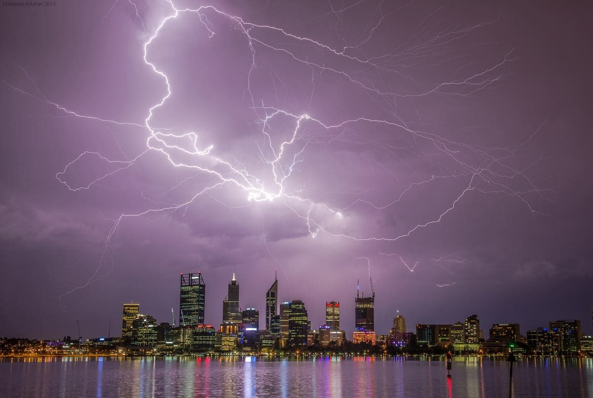 Severe lightning active storm over Perth (Australia) city early this year!!!