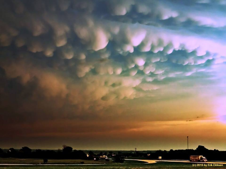 Another shot of mammatus clouds. Shot somewhere between Geary and El Reno, OK on May 13th 2009.