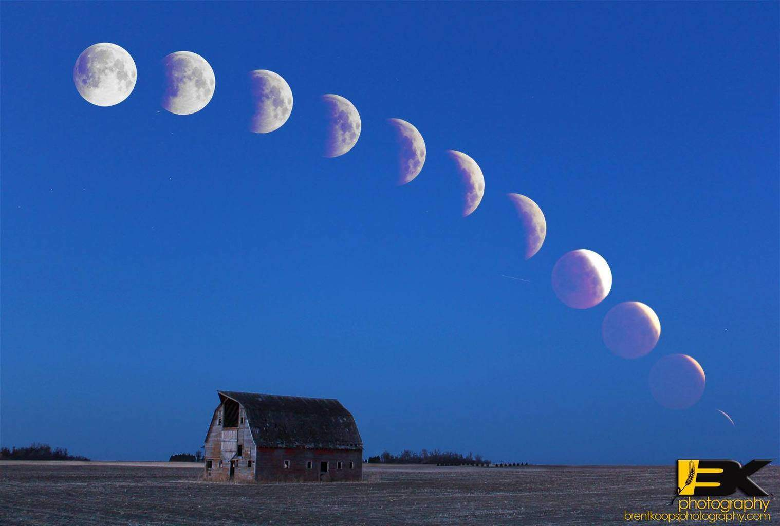 Composite image of this morning's lunar eclipse from Southern Minnesota.