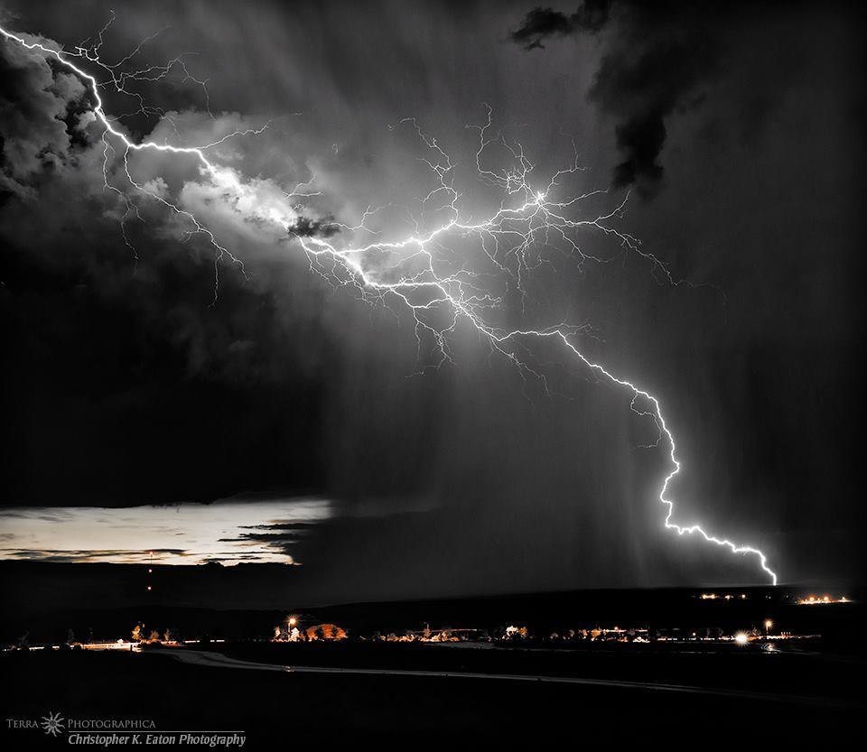"""Sizzle"" - A big lightning strike over Page, Arizona. - August 21, 2012"