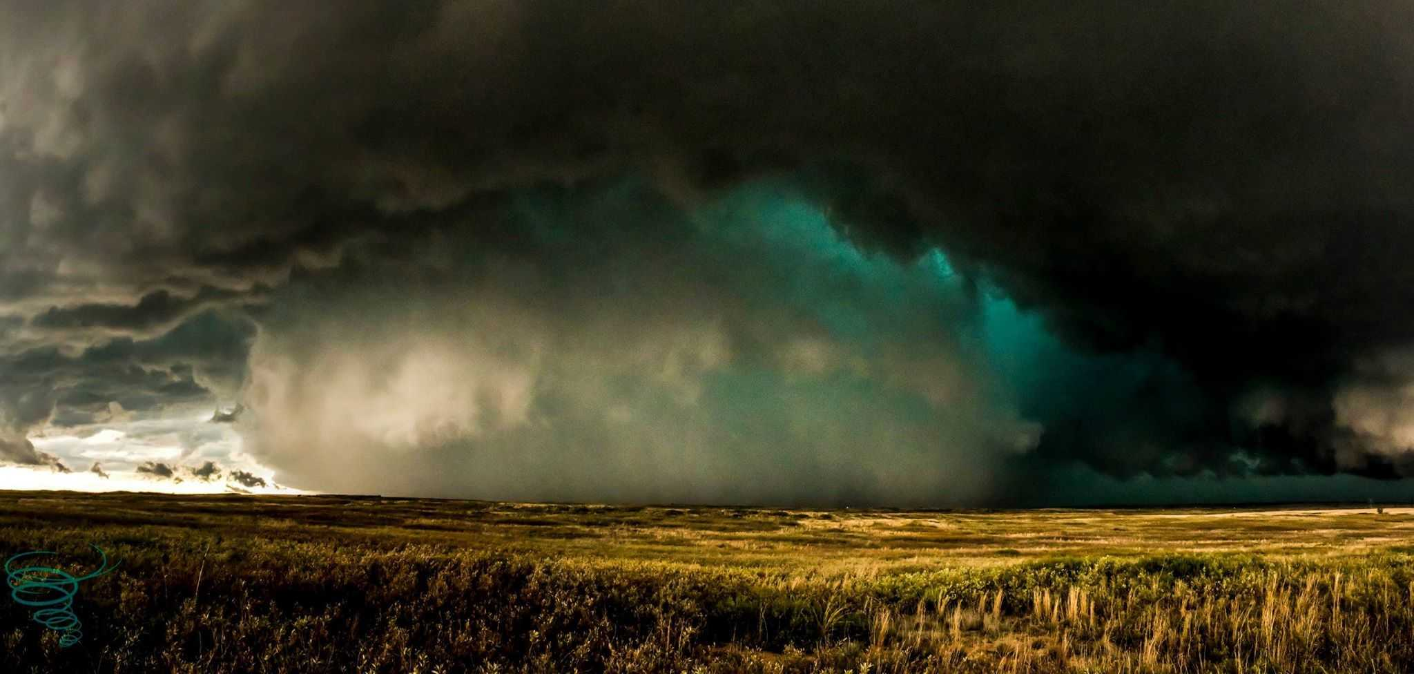 Tornado warned HP supercell near Kellerville, Texas on April 16, 2015. An EF0 tornado briefly made an appearance on the right side of the rain/hail shaft around the time of this photo.