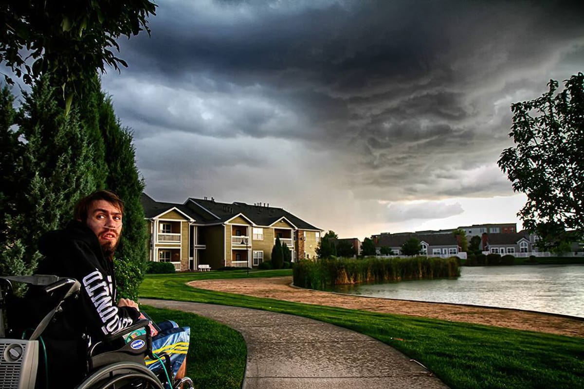 Hes going into a storm one more time - (photo: Denver, CO August 2013) My best friend and chase partner who passed away Jan 2014 to cystic fibrosis. He graduated from UNC with a Met Degree and chased with me for 7 years. I will be spreading his ashes into a supercell this spring via rockets that explode