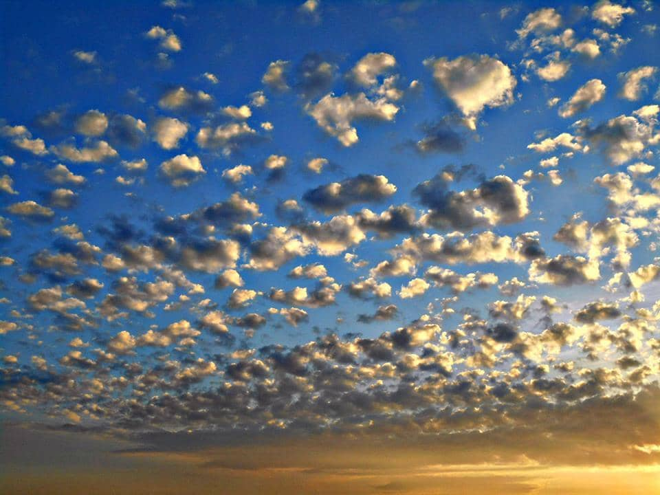 Beautiful Altocumulus clouds at sunset. Rostov-on-Don, South Russia today