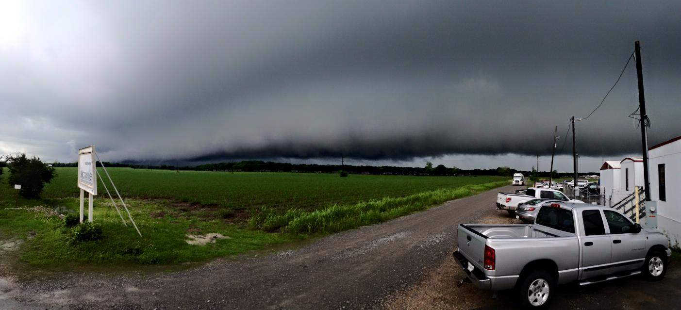 This storm rolled over Centerville, LA yesterday with a vengeance. Notice the sugar cane being sucked towards the storm cloud.
