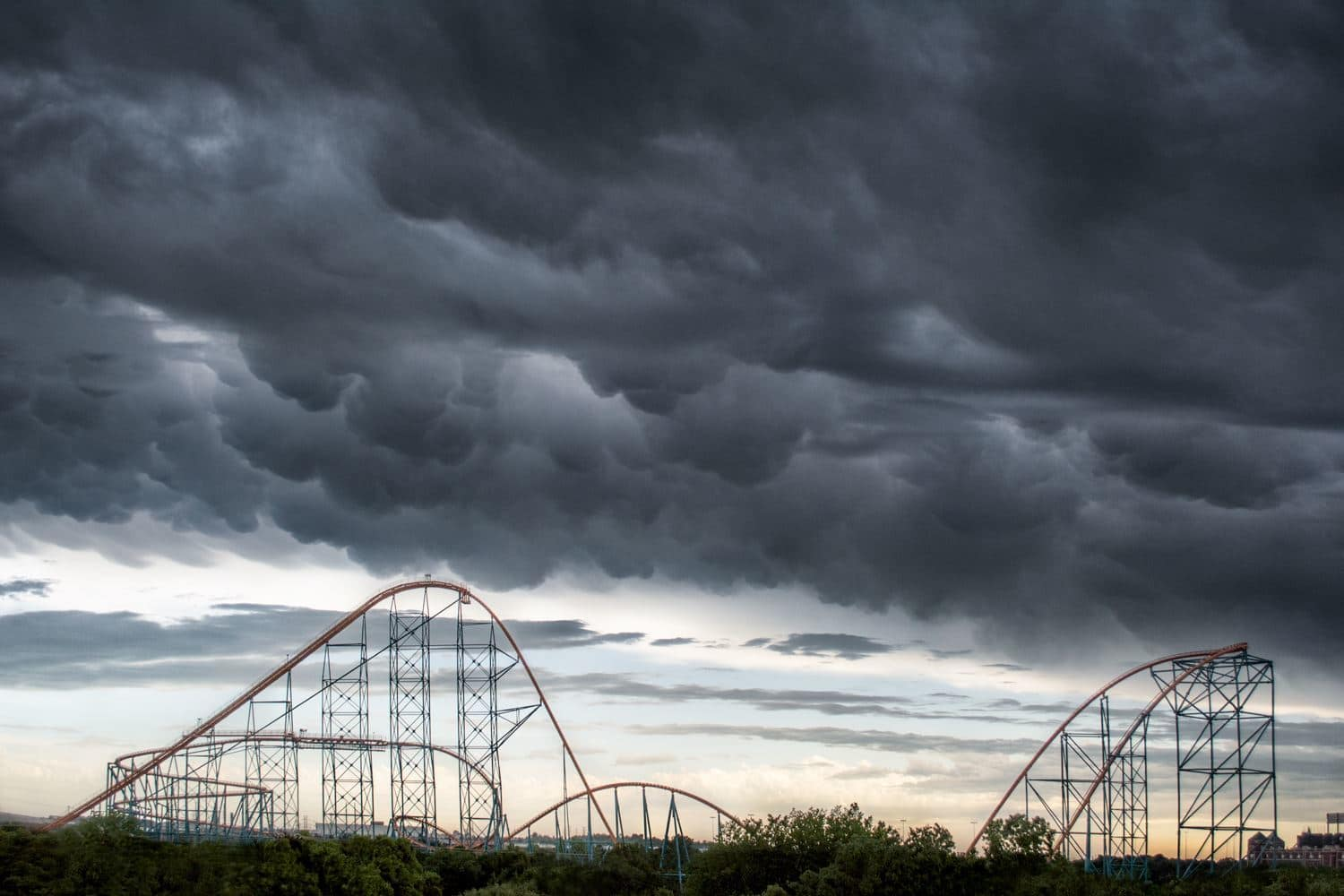 Mammatus clouds hanging out over The Titan at Six Flags Over Texas last Sunday. This rollercoaster required 2.8 million pounds of steel to manufacture.
