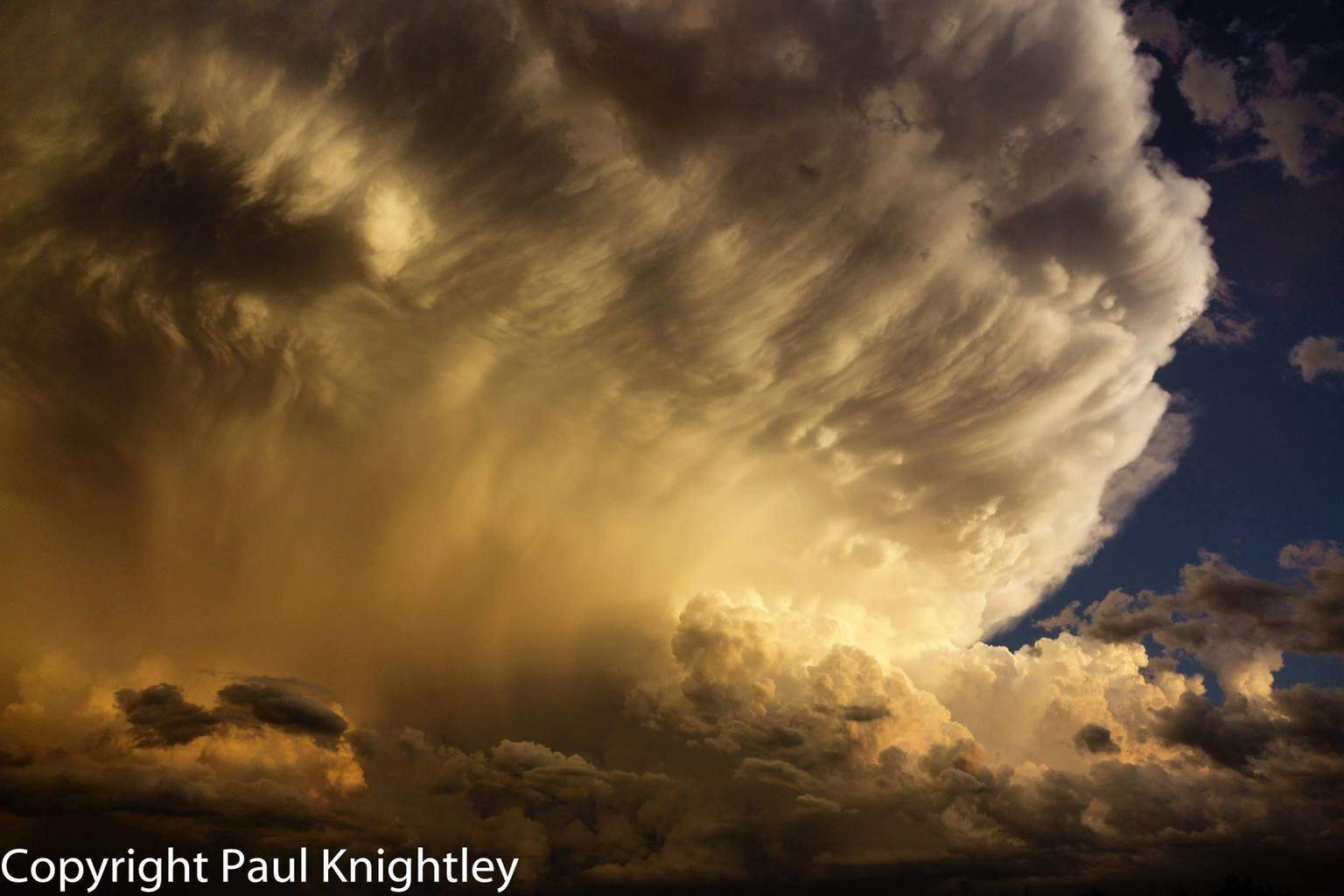 Stunning storm in central Oklahoma this evening, as viewed from the north near Fairview.