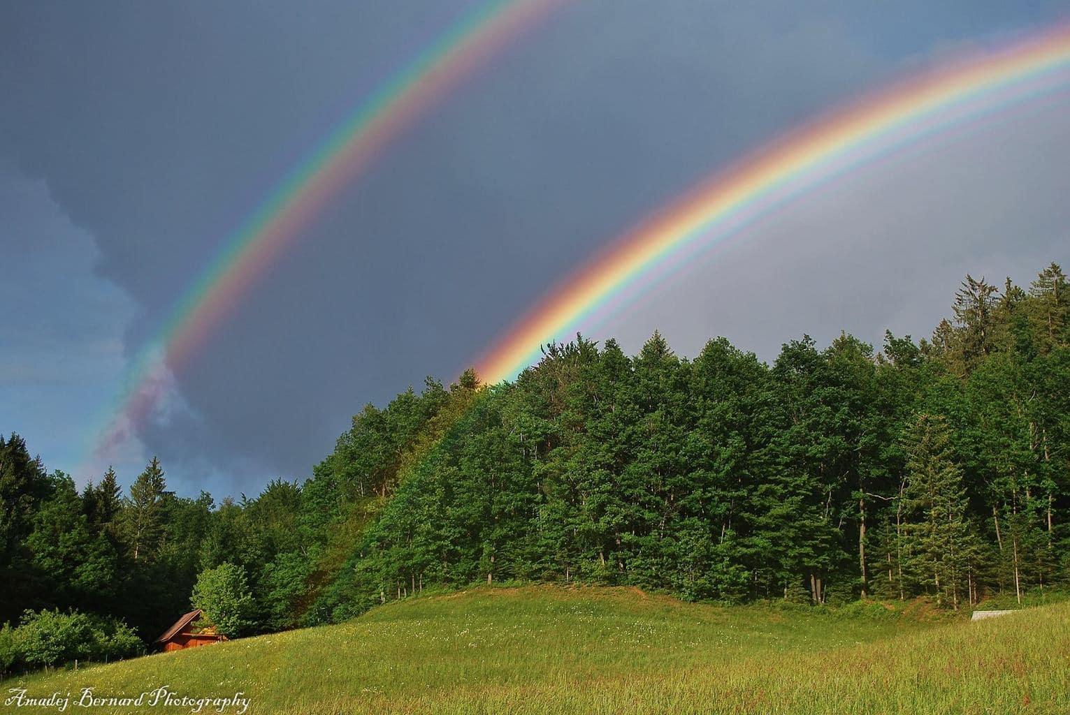 Amazing double Rainbow on Bukov Vrh (Slovenia) today