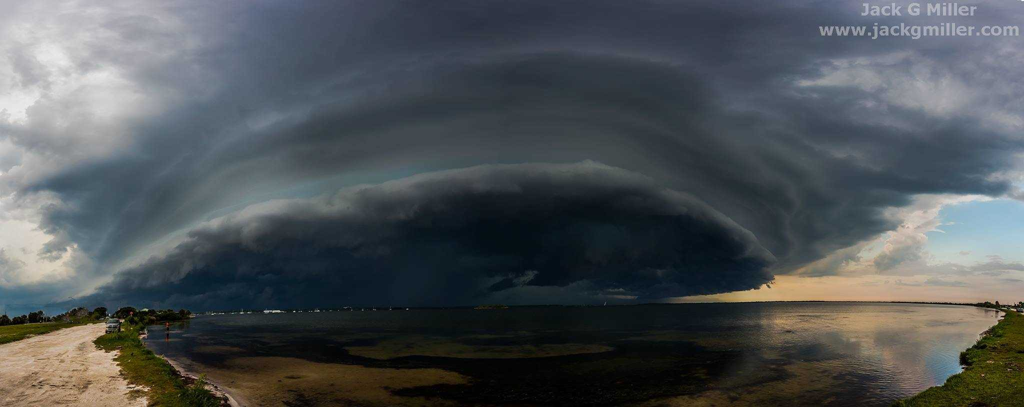 Shelf cloud from Wednesday's set of severe storms approaching Titusville, Fl. 14 Image Panoramic. 5/20/2015