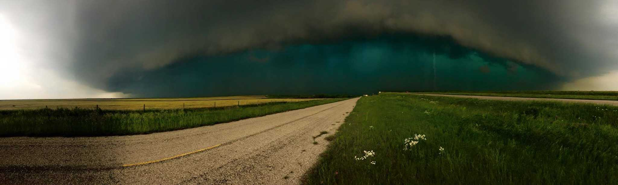 Nasty Green Supercell near Electra, TX this afternoon that pelted us with larger than Golf Ball size Hail, Gusty Winds and Torrential Rain.