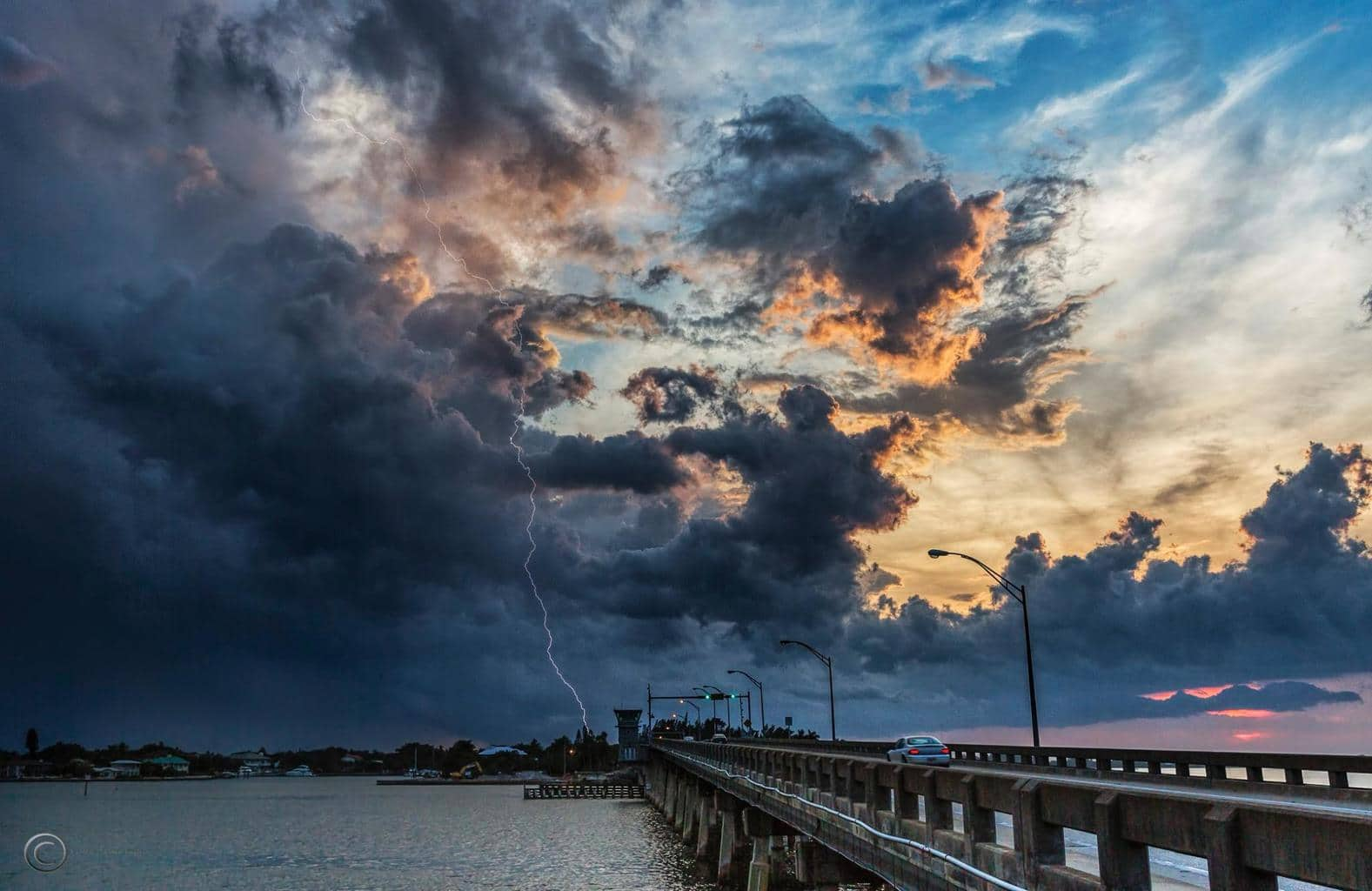 Pretty neat top to bottom bolt yesterday at sunset over Sarasota Bay in Sarasota, Florida