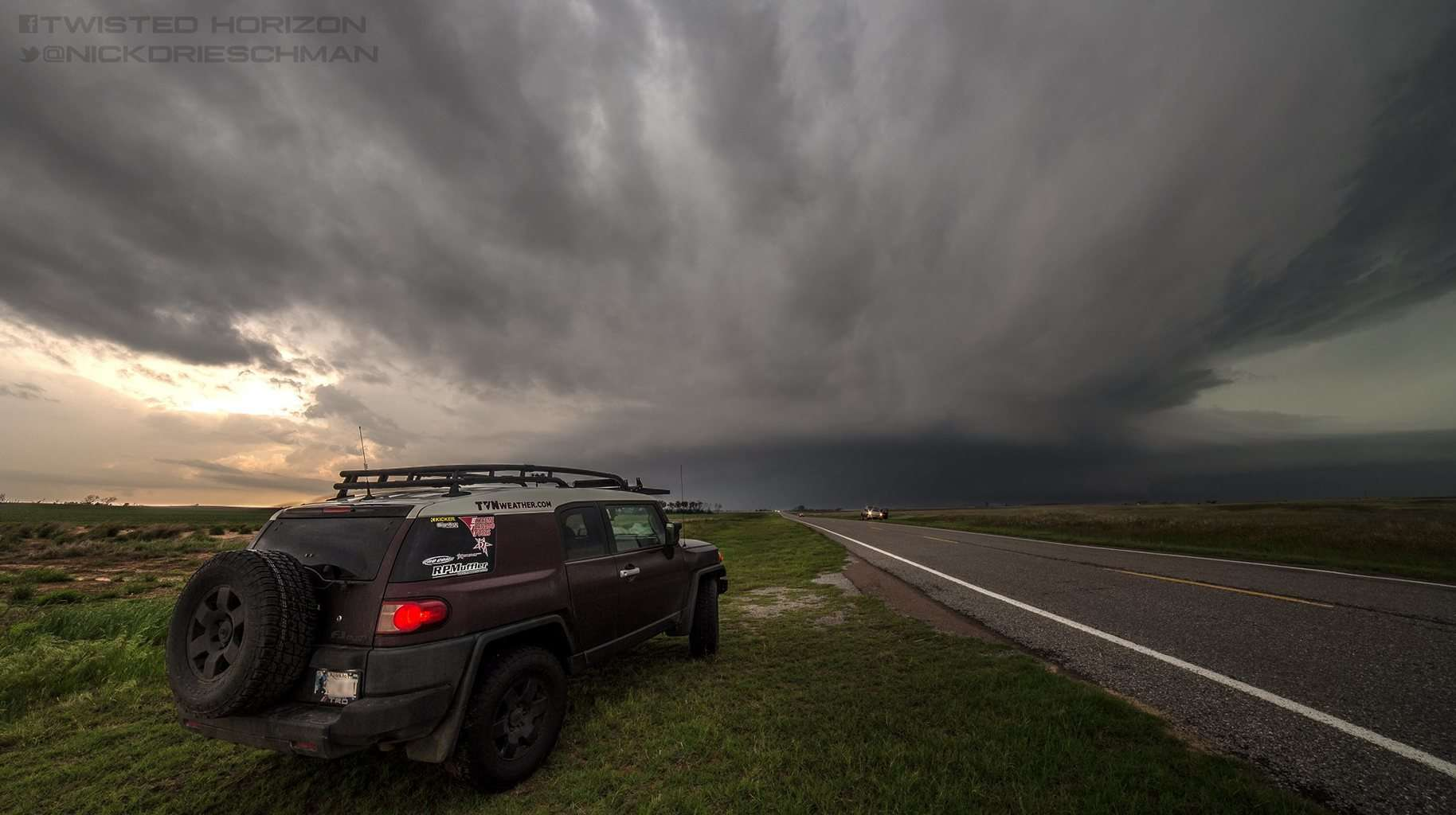 The storms are always the stars but I must say I love the vehicle customization aspect of storm chasing as well.. After all our vehicles are what gets us to and from what are we looking for safely and quickly and I worked my fingers to the bone for mine. Her first tornadic chase.  Beastly supercell containing a large tornado looms over Tipton, Oklahoma 5-16-2015