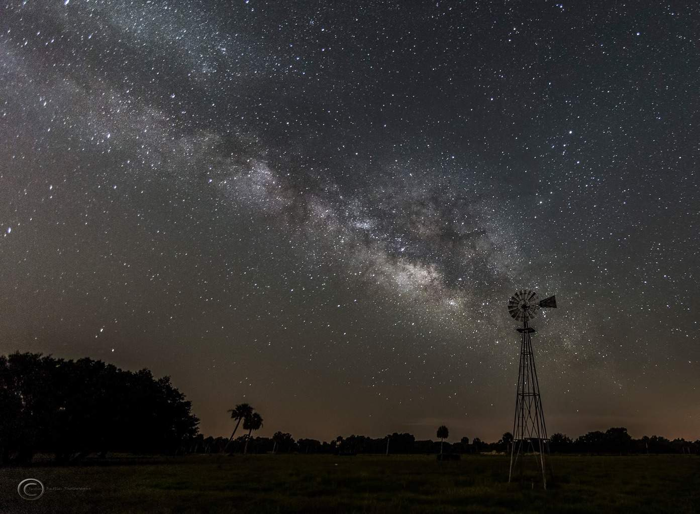The Milky Way and a windmill yesterday morning in a cow pasture in Zolfo Springs, Florida. Canon 6d, iso 4000, f2.8, 20 seconds, 24mm, single shot