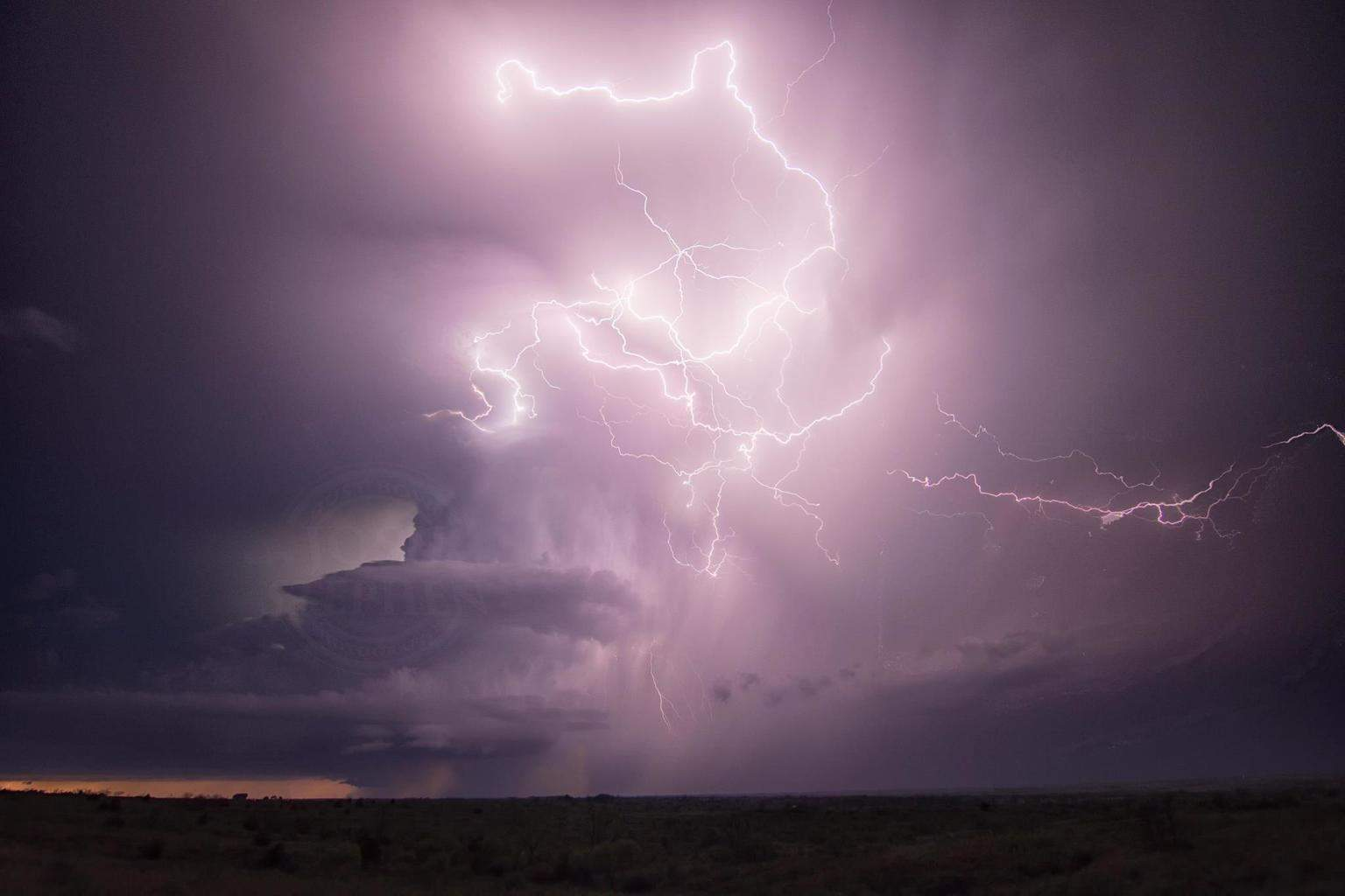 Amazing lightning barrage from a supercell near Wellington, Texas on 12 April 2015.