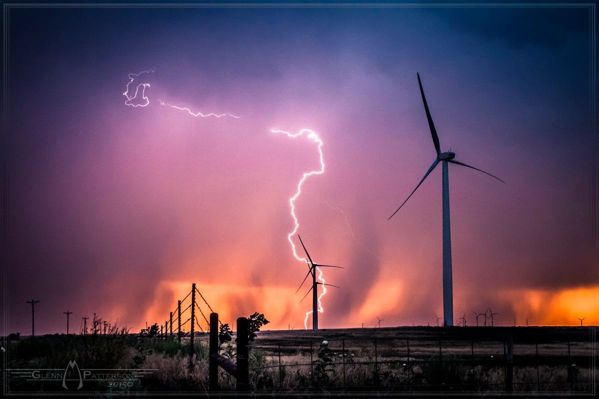 Lightning Shot on a Wind Farm North of Sayre Oklahoma on May 25th 2012. ISO 1600 f5.0 for 1/25th of a Second.