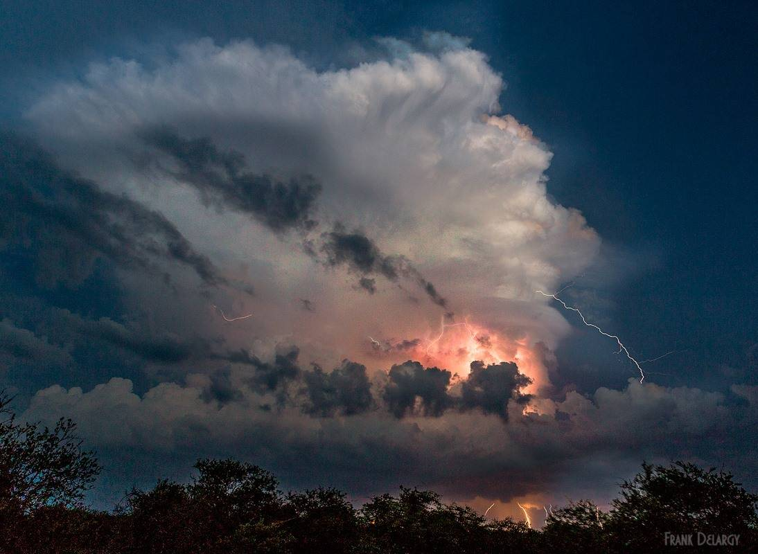 Active cloud in central Florida. A blend of three 6 second exposures for lightning only.