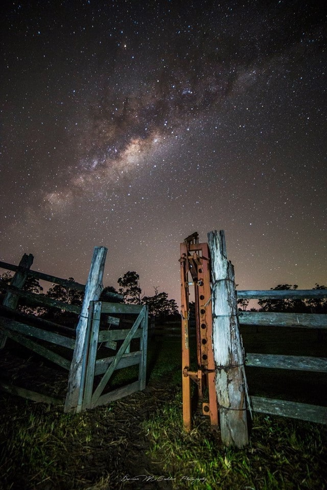 **Heavens Gate** Hey,  I shot this image of the Milky Way rising above this old gate a couple weeks ago on a farm in Sippy Downs, Australia.
