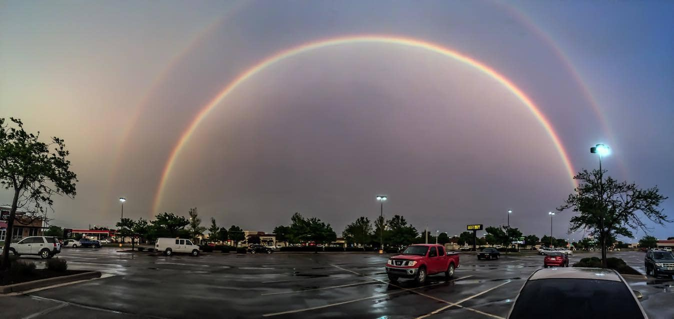A beautiful double rainbow in Wichita Kansas earlier this evening!