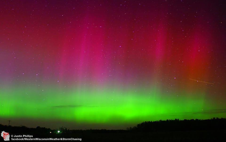 Magnificent auroras exploded over New Auburn, Wisconsin a week ago today just shortly after dark. Took over a 100 shots during the night but this was the peak of the display.