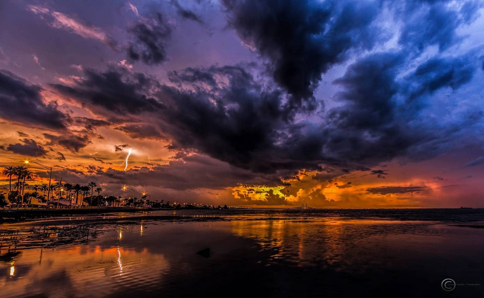 Going through my time lapse sets from last summer till finally trying to piece one together and found this decent strike with amazing color. Only about 25,000 photos to edit and organize, lol. Anyway found this from 3 storms I caught moving through one sunset time lapse over Tampa Bay, Florida 6-30-14.