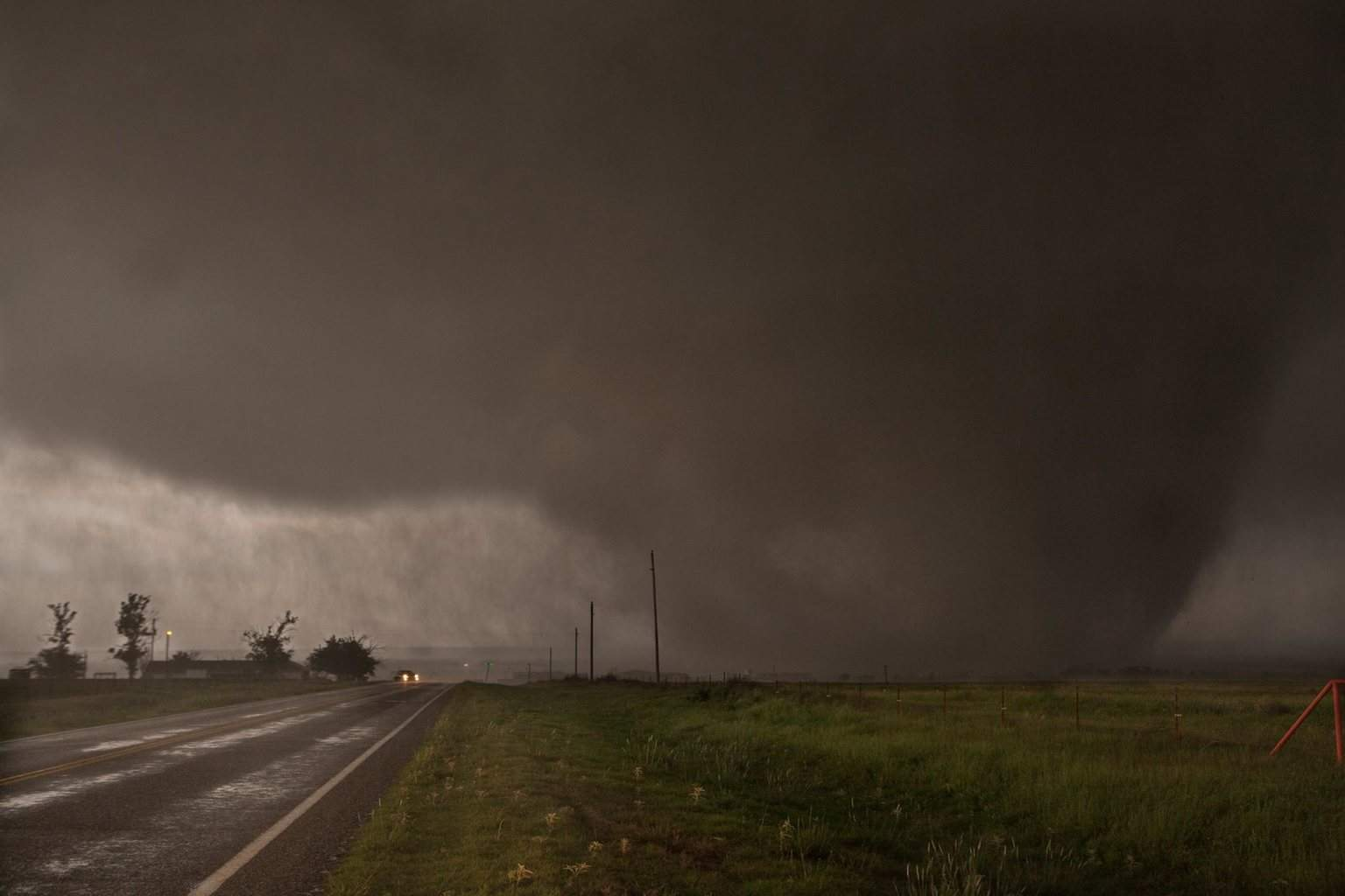 5/16/15 Elmer, OK wedge as it crossed at relatively close range to my south on HWY283 south of town. Waterfall roar was quite intense as it passed, followed by sporadic bangs of baseball hail was my cue to get the camera off the tripod and get back in my truck! Check out my video of this tornado below, it's one of the best i've shot to date.