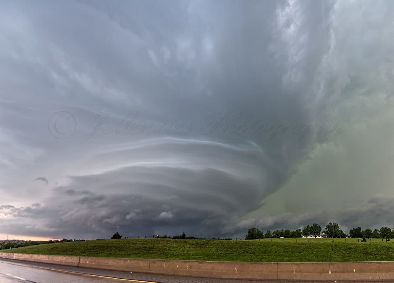 A monster stacked place supercell heads towards the OKC metro on May 6th 2015. This shot was taken from I-44 just south of Newcastle, OK.