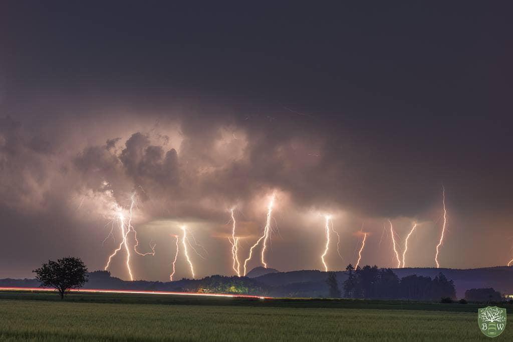 "Lightning over Southwest Germany near the ""Bodensee""!!"
