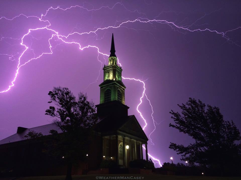 Caught this awesome shot of lightning behind Raley Chapel as the storms moved out of Shawnee, OK. 5/16/15