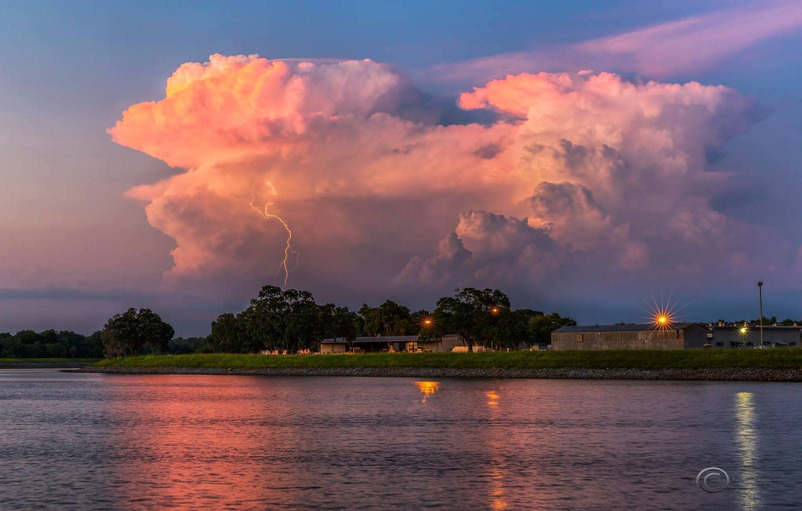 Two very photogenic storm cells and lightning near Tampa Florida yesterday at sunset