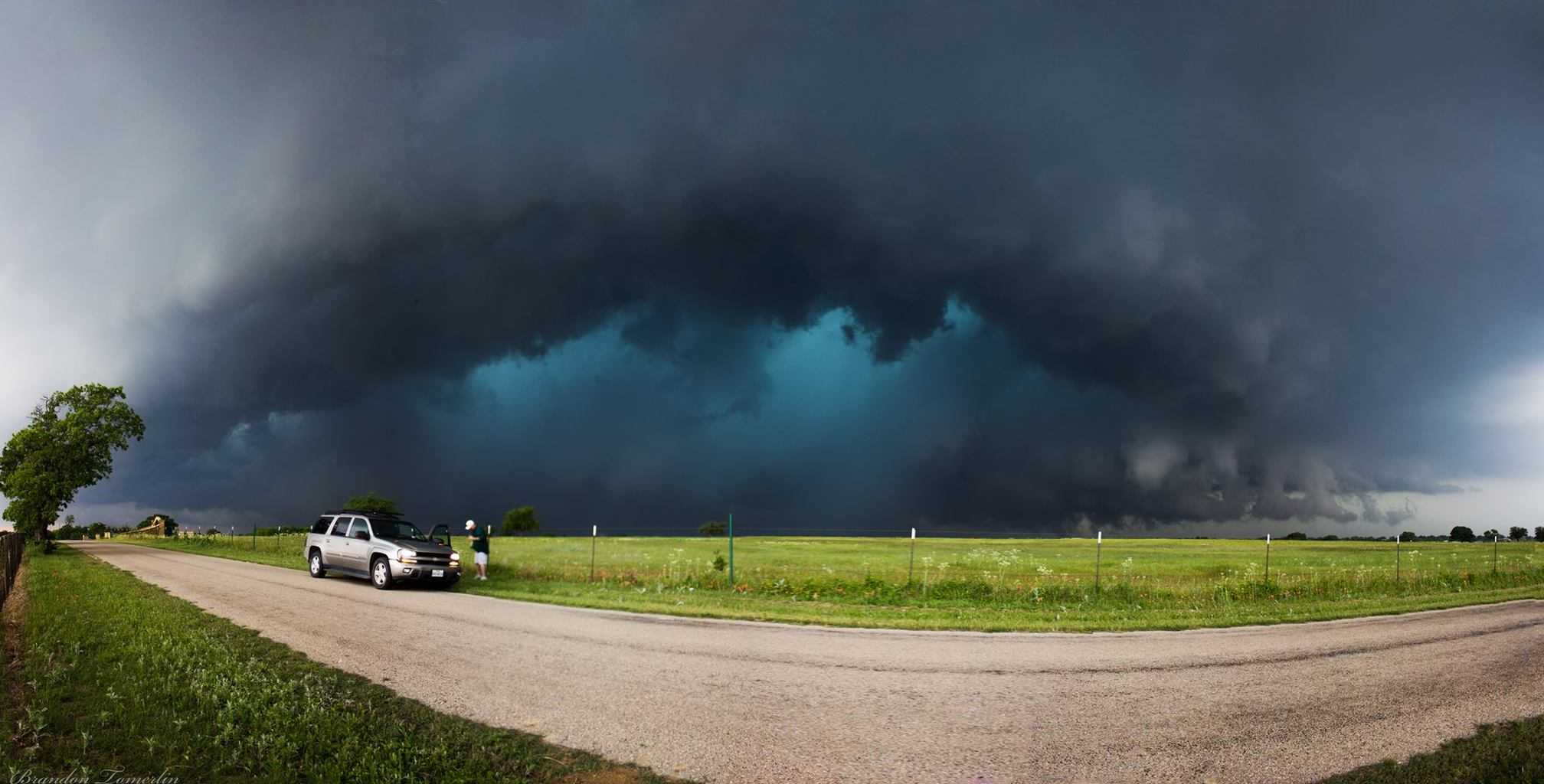 A panorama of the HP supercell on Saturday a couple minutes before it produced a tornado near Huckabay, TX.